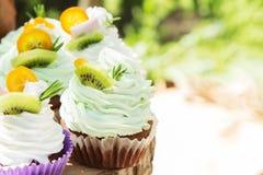 海绵蛋糕或松饼与奶油 库存图片