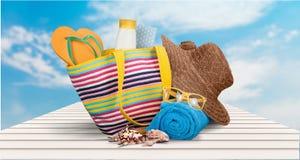 海滩袋子 免版税库存照片