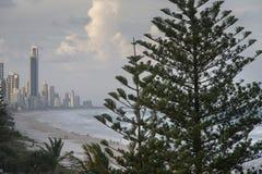 海滩观看英属黄金海岸 免版税库存照片