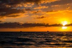 海滩迈阿密日出 库存图片