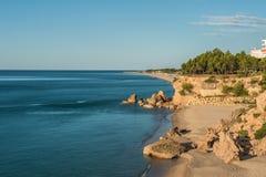 海滩迈阿密Platja,西班牙,日出 库存图片