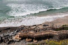 海滩通入的步对南卡尔斯巴德国家海滩 免版税库存照片