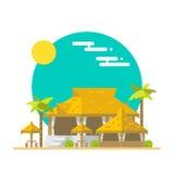 海滩酒吧和餐馆平的设计  向量例证