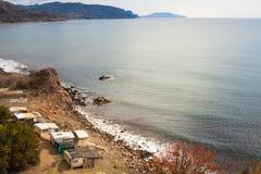 海滩野营 免版税库存照片