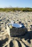 海滩野餐的准备 免版税库存照片