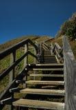 海滩陆岬木台阶 库存照片