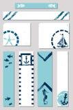 海洋难看的东西海绵印刷品样式广告横幅设置了与一条小船、一个船锚、一个海星、鱼和一匹海马的例证在蓝色 向量例证