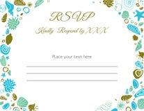 海洋题材RSVP卡片 免版税库存图片