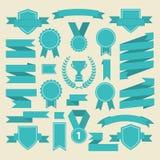 海洋颜色丝带,奖牌,奖,杯子集合 向量 库存照片