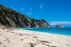 海滩风景在希腊 免版税库存照片