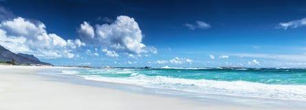 海滩风景的全景 库存图片