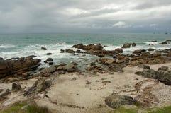 海滩风景,陶朗阿市,北岛,新西兰 免版税图库摄影