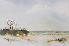 海滩风景水彩 免版税库存图片