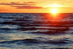 海滩风险感受产生慢的软的日落非常通知 图库摄影