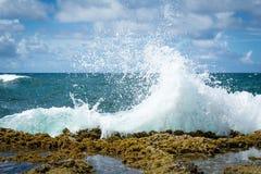 海洋飞溅在圣胡安波多黎各 库存照片