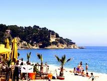 海滩餐馆,略雷特德马尔,西班牙 免版税图库摄影