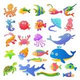 海水鱼和动物汇集 向量例证