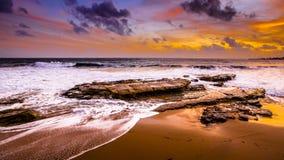 海滩,日落, 免版税图库摄影