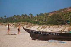 海滩,果阿,印度 免版税库存照片