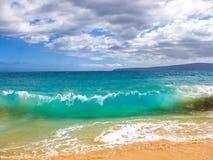 海洋,毛伊,夏威夷的波浪 图库摄影