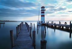 海洋,海码头-灯塔 免版税库存照片