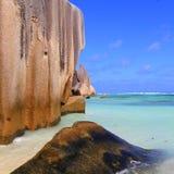 海滩, d'Argent Anse的来源,塞舌尔群岛 免版税库存图片