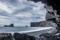 黑海滩 免版税图库摄影