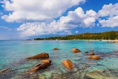 海滩Anse拉齐奥-塞舌尔群岛 库存照片