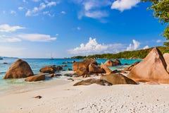 海滩Anse拉齐奥-塞舌尔群岛 图库摄影