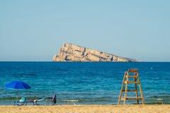 海滩benidorm海岛 库存照片