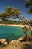 海滩Cala卡斯特尔 库存图片
