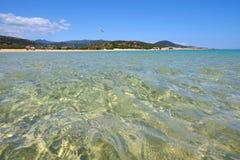 海滩Chia在撒丁岛,意大利 免版税库存图片