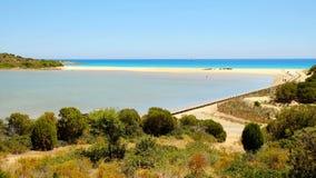 海滩Chia在撒丁岛,意大利 库存照片