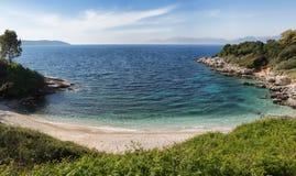 海滩corfu希腊kassiopi 免版税图库摄影