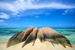 海滩dArgent Anse的来源 图库摄影