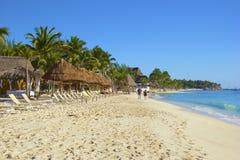 海滨del卡门海滩,墨西哥全景  免版税图库摄影