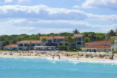 海滨del卡门海滩,墨西哥全景  免版税库存照片