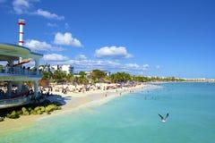 海滨del卡门海滩,墨西哥全景  库存图片