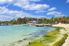 海滨del卡门海滩,墨西哥全景  库存照片