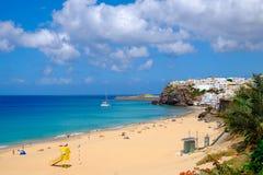 海滩Playa de Morro Jable 费埃特文图拉岛,西班牙- 20 06 201 免版税库存图片