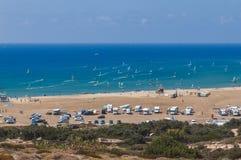 海滩Prasonisi Lindos 希腊 库存图片