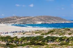 海滩Prasonisi Lindos 希腊 免版税库存照片