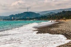 海滩Sinop在阿布哈兹苏呼米的首都 免版税库存照片