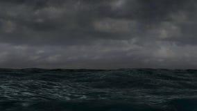 海洋Storm.Cloudy天空和波浪 向量例证