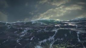 海洋Storm.Cloudy天空和波浪 库存例证