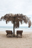 海滩sunbeds二 免版税库存照片