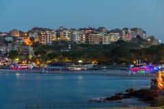 海滩Twinlight视图和索佐波尔,保加利亚的新的部分 图库摄影