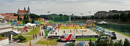 海滩voleyball欧洲冠军在维尔纽斯 库存照片