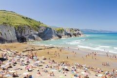 海滩Zumaia,西班牙 图库摄影
