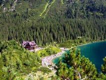 海Eye湖和山风雨棚在高Tatras在波兰 免版税库存图片